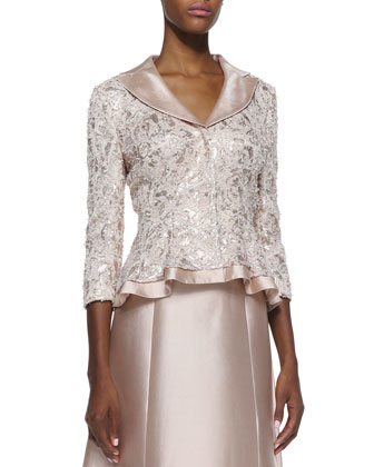 Sequin-Lace Jacket with Silk Trim