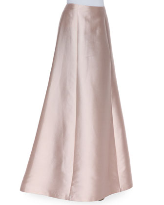 Wool-Silk A-Line Long Full Skirt