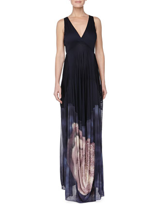 Embroidered Open Back Evening Gown, Deep Sea Blue