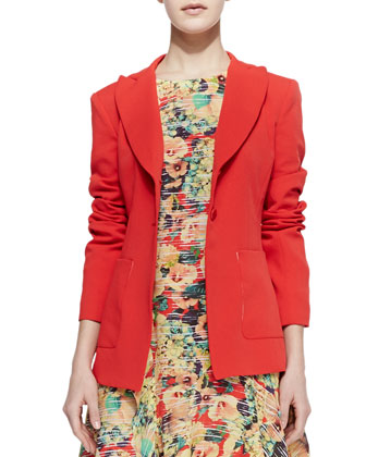 Romance Long Crepe Blazer & Amorous Floral-Print Silk Dress