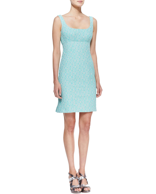 Womens Demure Square Neck Sleeveless Dress   Nanette Lepore   Aqua (12)