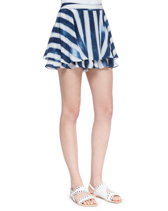 Striped-Silk Flirty Skort