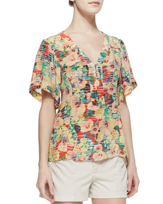 Visionary Floral-Print Zip Top