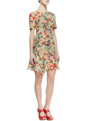 Amorous Floral-Print Silk Dress