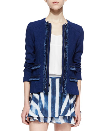 Dreamy Denim Knit Jacket, Ever After Voile Short-Sleeve Top & Striped-Silk ...