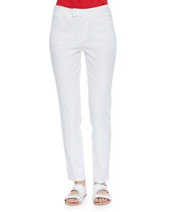 Pearl Twill Straight-Leg Pants