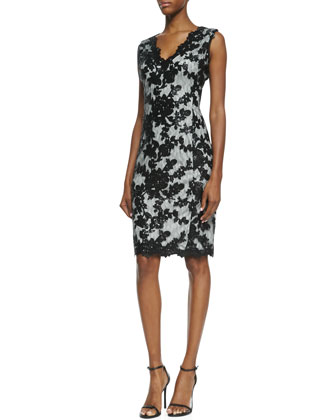 Sleeveless Lace Overlay Cocktail Dress, Black/Silver