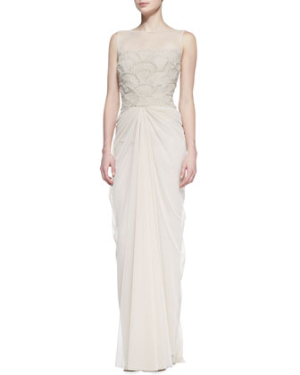 Sleeveless Beaded Fan-Bodice Gown, Latte