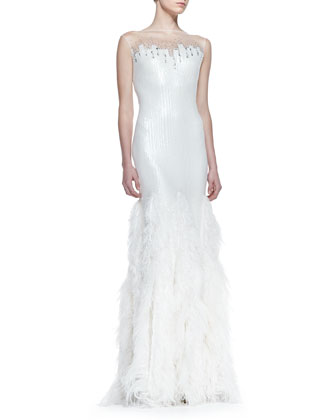 Sequin-Bodice Feather-Skirt Gown, White