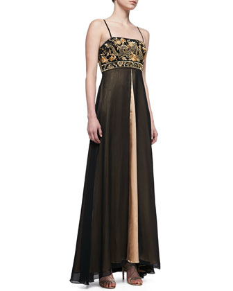 Spaghetti Strap Embroidered Bodice Gown, Black/Cognac