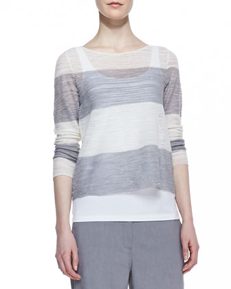 Striped Sheer Box Top, Organic Cotton Slim Tank & Linen-Blend Straight-Leg ...