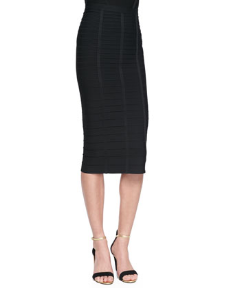 Sia Below-The-Knee Bandage Skirt, Black