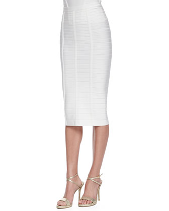 Sia Below-The-Knee Bandage Skirt, Alabaster
