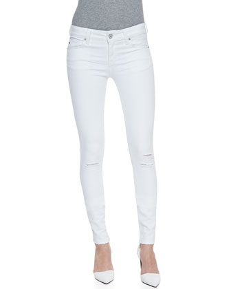 Soho Super Skinny Distressed Jeans, White