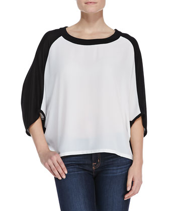 Two-Tone Contrasting Trapeze Top, Black/White
