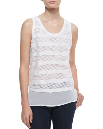 Striped Mesh Tank Top, White
