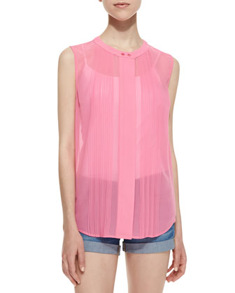 Solar Spells Crystal Pleated Tank Top, Pink