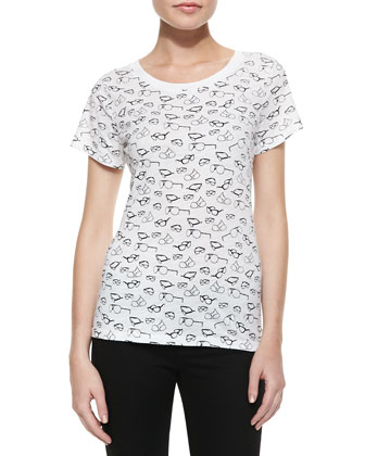 Sonny Slub Sunglasses Print Tee, White/Black