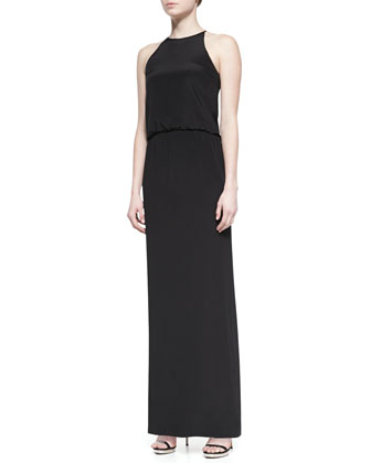 Heavy Silk Long Halter Dress, Black