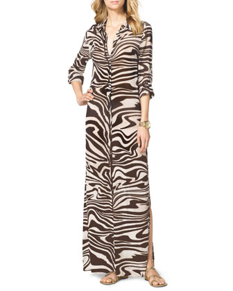 Zebra-Print Maxi Shirtdress