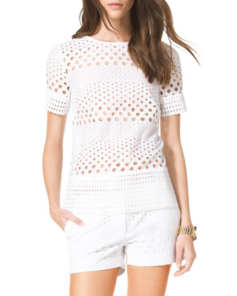See-Through Eyelet Shirt & Mini Shorts