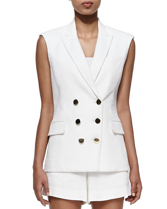 Textured Sleeveless Double-Breasted Vest & Tailored Woven Shorts