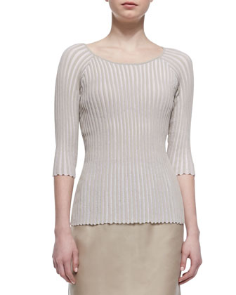 Pleated Stripe 3/4-Sleeve Sweater, Khaki
