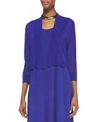 Crinkle Cropped Cardigan, Blue Violet
