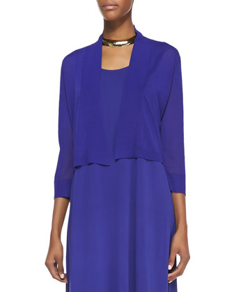 Crinkle Cropped Cardigan & Sleeveless Asymmetric-Hem Dress