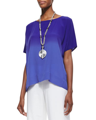 Short-Sleeve Ombre Top, Blue Violet, Women's