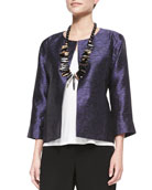 3/4-Sleeve Threaded Silk Jacket, Women's