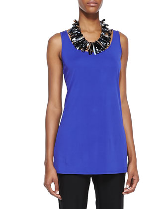 Long Silk Jersey Tank, Blue Violet