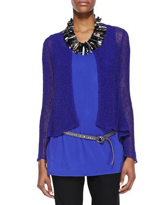 Linen-Blend Flutter Cardigan, Blue Violet, Women's