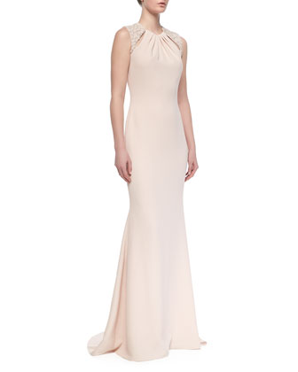 Sleeveless Beaded-Shoulder Gown, Blush