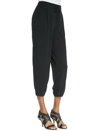 Silk Drawstring Cropped Pants, Petite