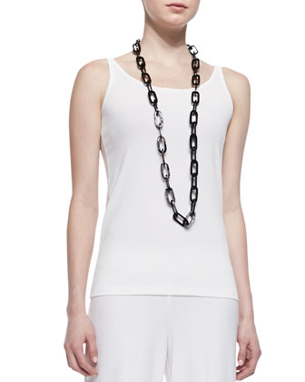 Silk Jersey Long Slim Camisole, Soft White