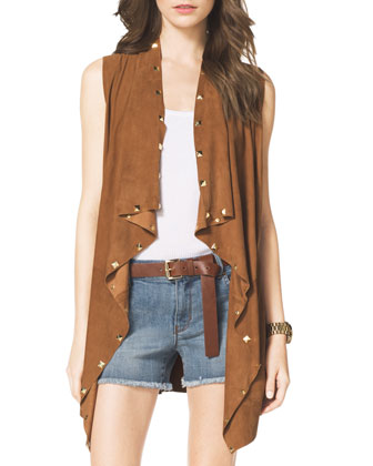 Studded Suede Draped Vest