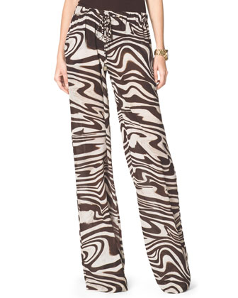 Zebra-Print Wide-Leg Pants