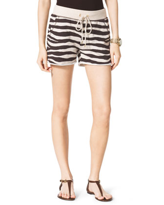 Zebra-Print Terry Shorts