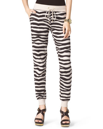Zebra-Stripe Terry Sweatshirt & Zebra-Print Terry Pants