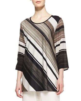 Layered-Stripe Printed Tunic and Wide-Leg Stretch Pants