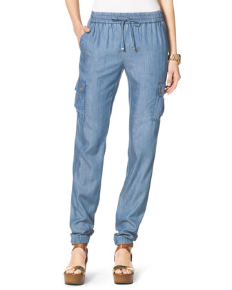 Chambray Drawstring Pants