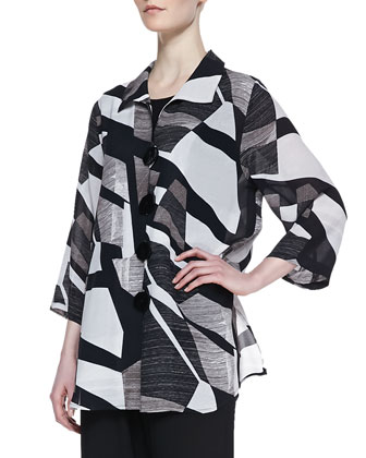 Fragmented-Print Easy Georgette Shirt, Women's