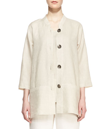 Tissue Linen Shirt Jacket, Women's