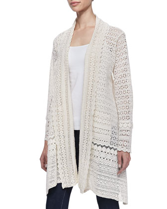 Long Crochet Open Jacket & Dandridge Printed Silk Scarf, Women's