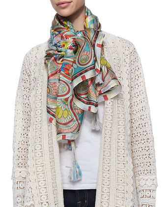 Long Crochet Open Jacket & Dandridge Printed Silk Scarf