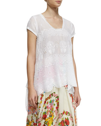 Jasmine Short-Sleeve Scalloped Top, Women's