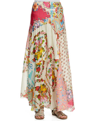 Jasmine Short-Sleeve Scalloped Top & Georgette Mixed Floral-Print Maxi Skirt