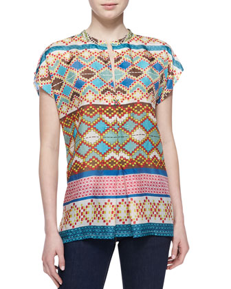 Mixed-Print Silk Short-Sleeve Blouse, Women's