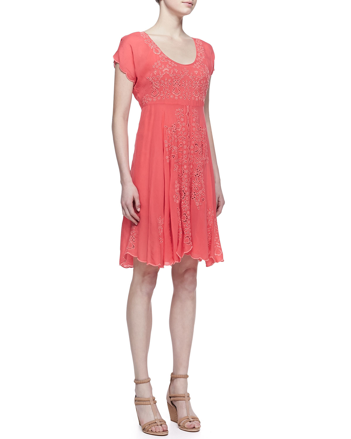 Lucy Eyelet Cap Sleeve Dress, Womens   Johnny Was Collection   Papaya (1X